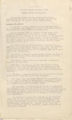 1944 Hobart Hebrew Congregation Annual Report