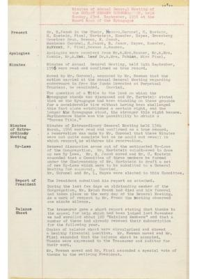 Hobart Hebrew Congregation Meeting Minutes, 23 September 1956