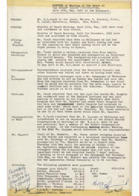 Hobart Hebrew Congregation Meeting Minutes, 12 May 1957