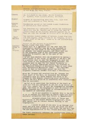 Hobart Hebrew Congregation Meeting Minutes, 9 November 1958