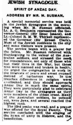 Jewish synagogue: Spirit of Anzac Day: Address by Mr. M. Susman