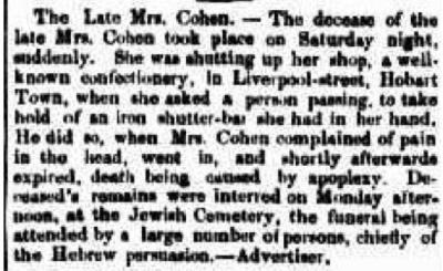 The late Mrs. Cohen