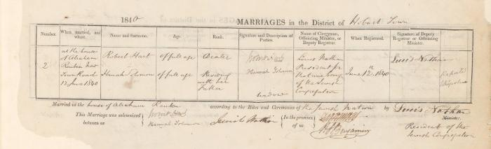 Robert Hart & Hannah Solomon marriage record