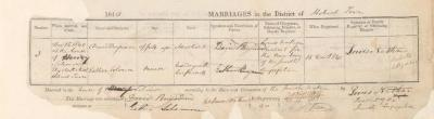 David Benjamin & Esther Solomon marriage record