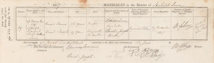 Edward Isaacs & Dinah Joseph marriage record