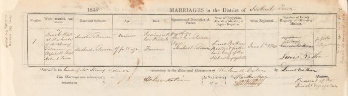Michael Solomon & Sarah Solomon marriage record