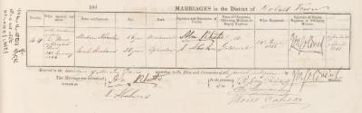Abraham Rheuben & Sarah Abrahams marriage record