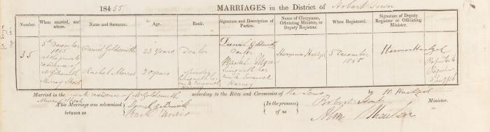 Daniel Goldsmith & Rachel Morris marriage record