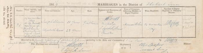 Joseph Solomon & Elizabeth Davis marriage record