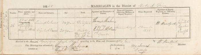 Louis Abrahams & Elizabeth Davis marriage record