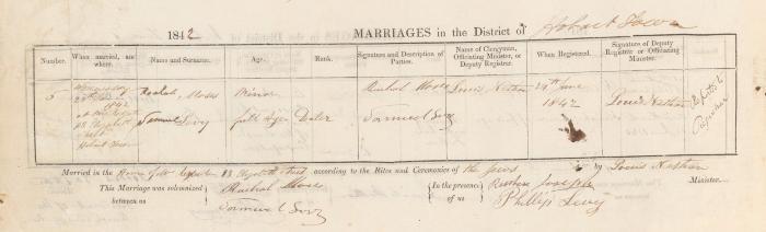 Samuel Levy & Rachel Moses marriage record
