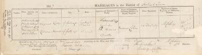 Lazarus Levy & Rebecca Harris marriage record