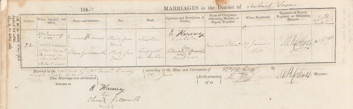 Emanuel Karney & Clara Goldsmith marriage record