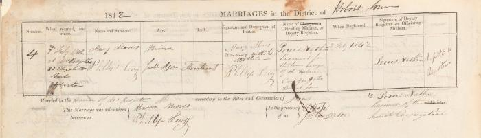 Philip Levy & Mary Moses marriage record