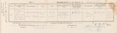 Alexander Davies & Sarah Hyams marriage record