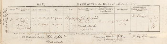 John Goldsmid & Sarah Marks marriage record