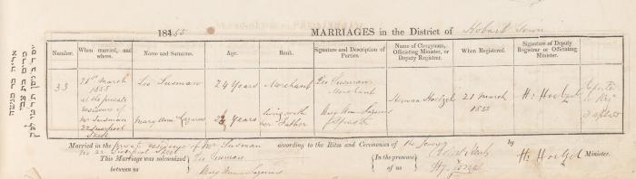 Leo Susman & Mary Ann Lazarus marriage record