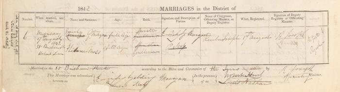 Phineas Moss & Emily Golding Morgan wedding record