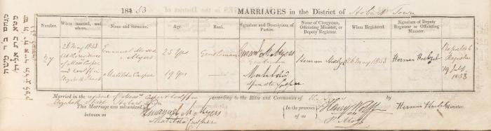 Emanuel Moses Myers & Matilda Casper marriage record