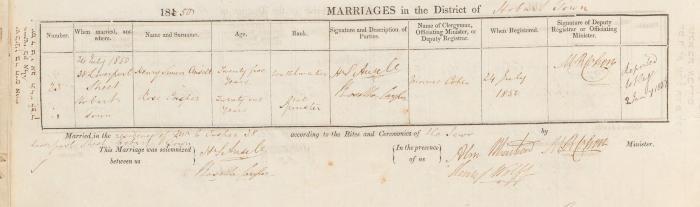 Henry Simon Ansell & Rosetta Casper marriage record