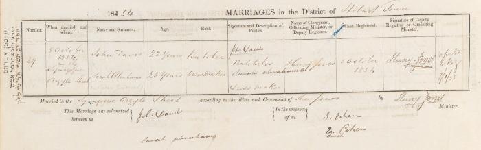 John Davis & Sarah Abrahams marriage record