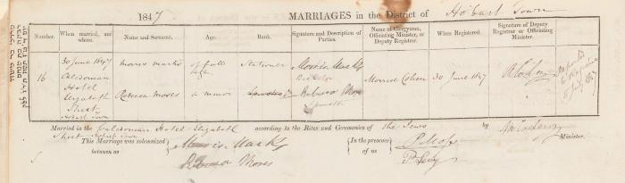 Morris Marks & Rebecca Moses marriage record
