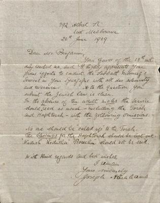 Letter from Rev. Dr. Joseph Abrahams to Samuel Benjamin