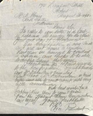 Letter from Reuben Benjamin regarding High Holy Days leadership