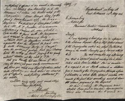 Letter from Henry Ansell regarding Joseph Solomon bequest
