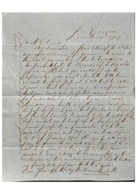 Letter from William Hartnoll to Henry Ansell