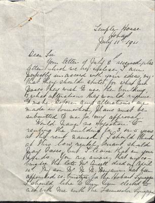 Letter from Samuel Benjamin regarding Launceston Synagogue