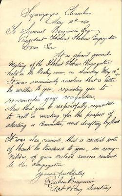 Letter from Reuben Benjamin to Samuel Benjamin