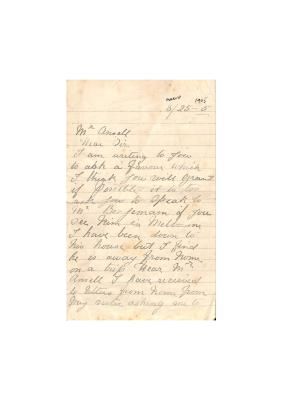 Letter from Ms. Hyams to Henry Ansell asking for charity