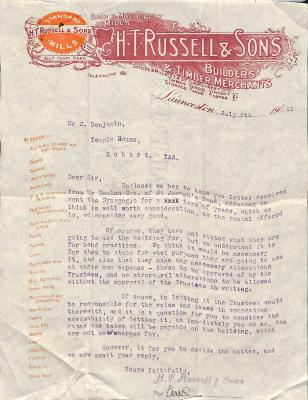 Letter to Samuel Benjamin about Launceston Synagogue