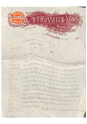 Letter about Launceston Synagogue and Henry Ansell's death