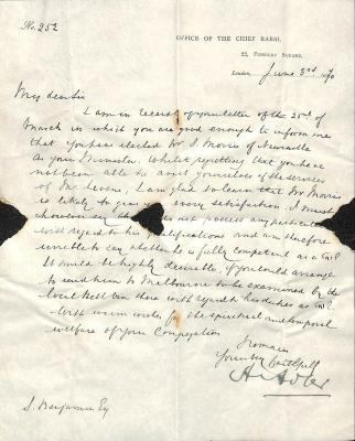 Letter from Rabbi Hermann Adler CVO to Samuel Benjamin