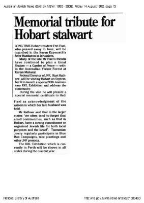 Memorial tribute for Hobart stalwart