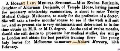A Hobart lady medical student
