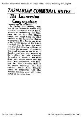 The Launceston congregation