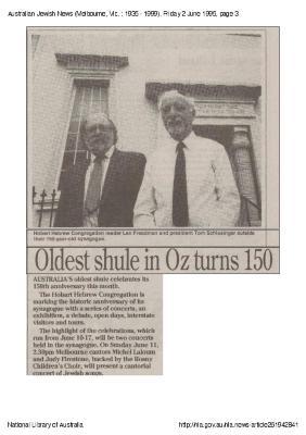 Oldest shule in Oz turns 150