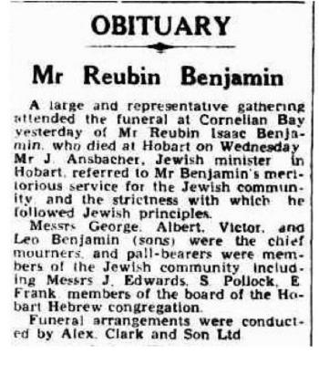 Obituary: Mr. Reuben Benjamin