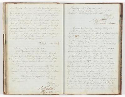 Meeting Minute Original Page, 20 August 1845 - 28 August 1845