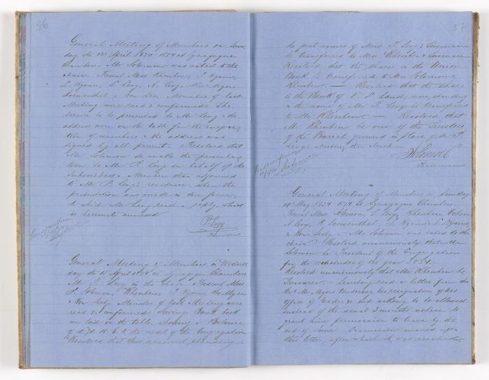 Meeting Minute Original Page, 12 April 1874 - 10 May 1874